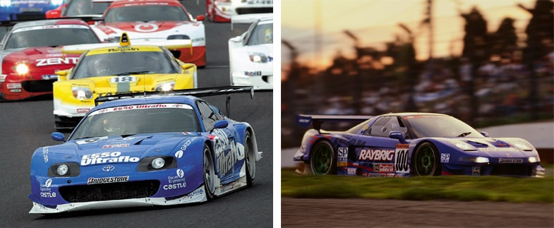 JGTCのGT500クラスにトヨタが投入したスープラ(左)と、ホンダが投入したNSX(右)。両モデルの参戦により、今日に続く3大メーカーによる戦いの構図が出来上がった。