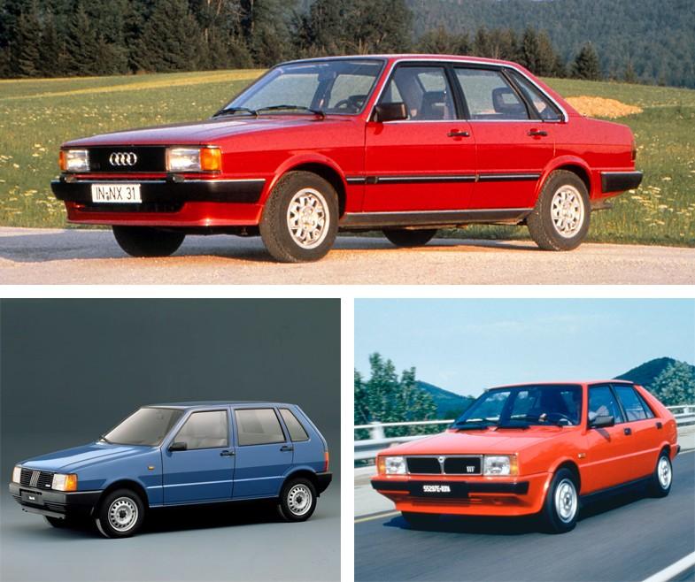 著者が所有してきた、ジウジアーロが手がけた歴代のモデル。上段がアウディ80、下段左がフィアット・ウーノ、下段右がランチア・デルタ。
