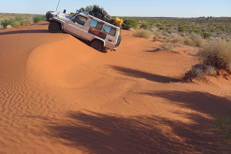 シンプソン砂漠ではこのような砂丘を500kmの区間で900個くらい越える