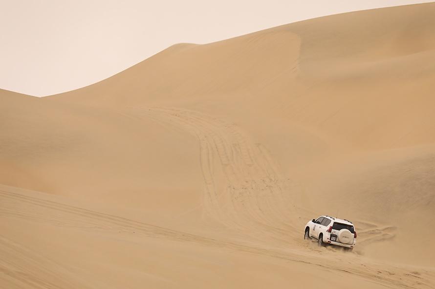 この写真の約4倍の砂丘を越えていく