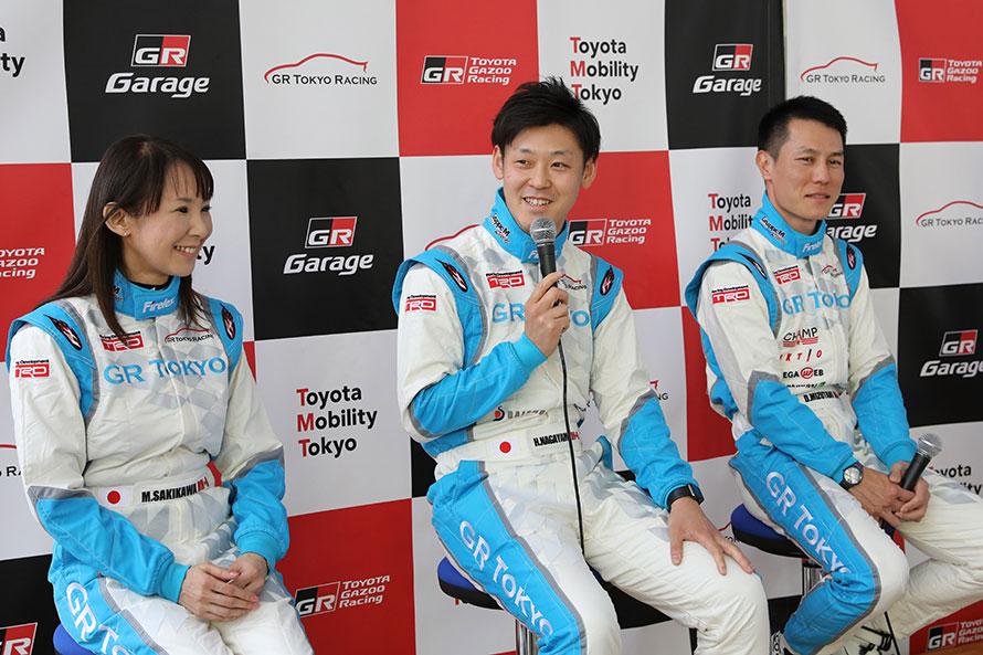 新加入の咲川選手と社員ドライバーの長山選手、水谷選手