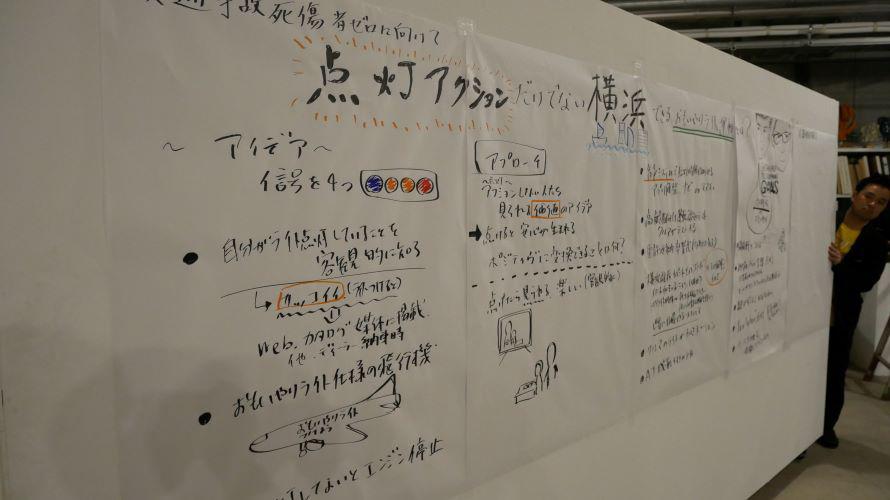 参加者から生まれたアイデアは、会場に設置された壁にリアルタイムで記載されます。