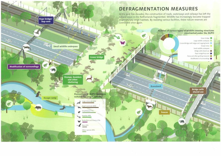 会議で発表されたオランダの全国分断化解消プログラムの資料の一部。動物用横断施設の模式図