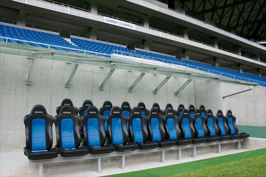 ガンバ大阪のホームスタジアムに設置されたブリッドのシート