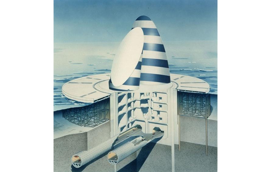 「風の塔」の透視図。一番下に地下トンネルがあり、その上に換気用の設備が備えられています(提供:NEXCO東日本)