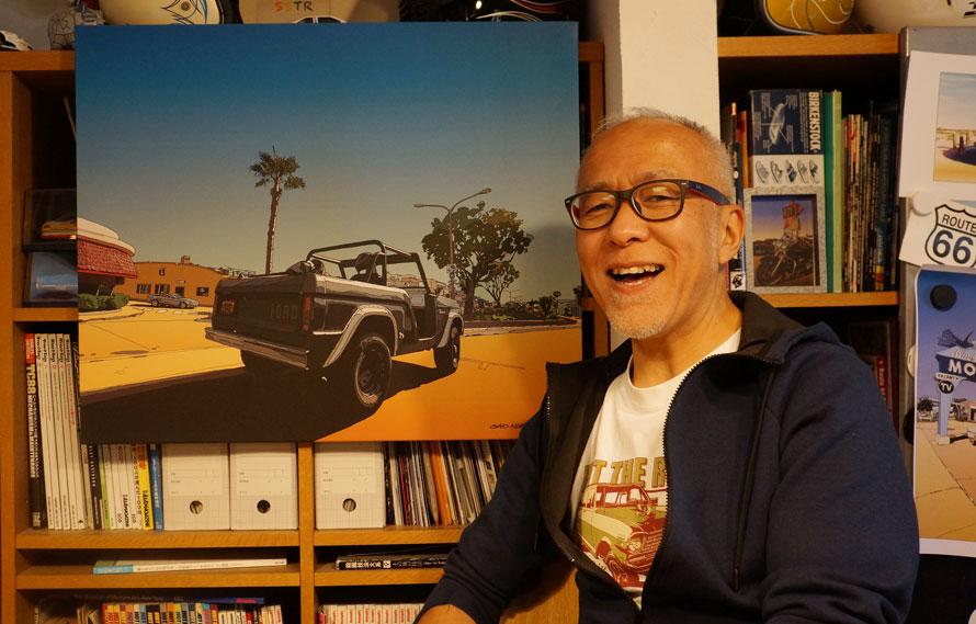 GAO NISHIKAWAさん。背景のイラストはGAOさんが描いたもの