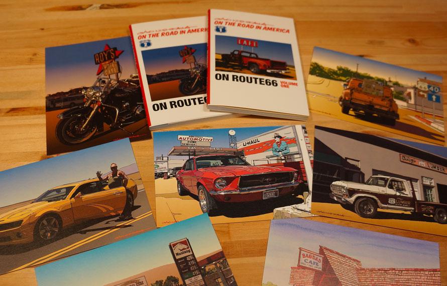 GAOさんのイラストを使ったポストカード集。アメリカの風景の中のクルマがいっぱい