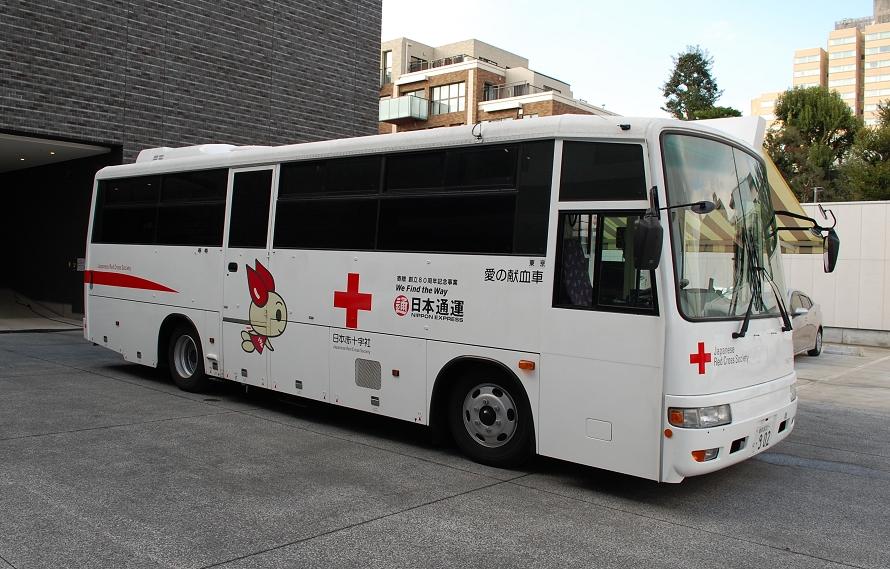 取材させてもらった献血バスは、「日本通運」より寄贈されたもの