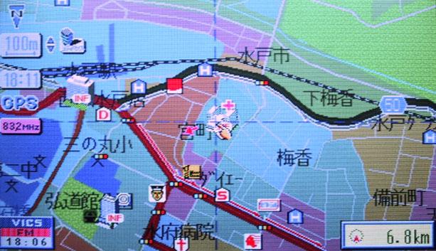 地図上に渋滞情報を表示したVICS(1998年、筆者撮影)