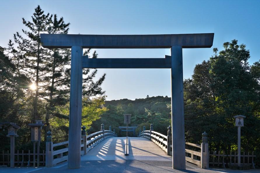 伊勢神宮 宇治橋。江戸時代、「一生に一度はお伊勢参り」と言われていた
