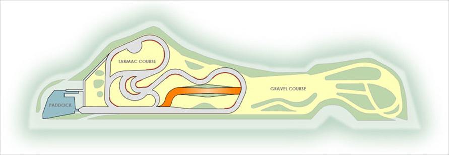 コース全景。パドック側に約1kmのターマックコース(舗装路)、奥側にグラベルコース(未舗装路)があり、オンロード・オフロードどちらも楽しめるコースになっている(画像:SUNRISE CIRCUIT)