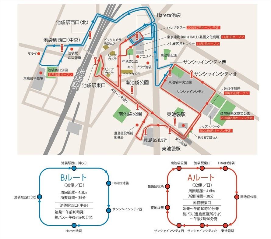 池袋駅のまわりを周回するイケバスの2つのルート。赤がAルート、青がBルートとなる