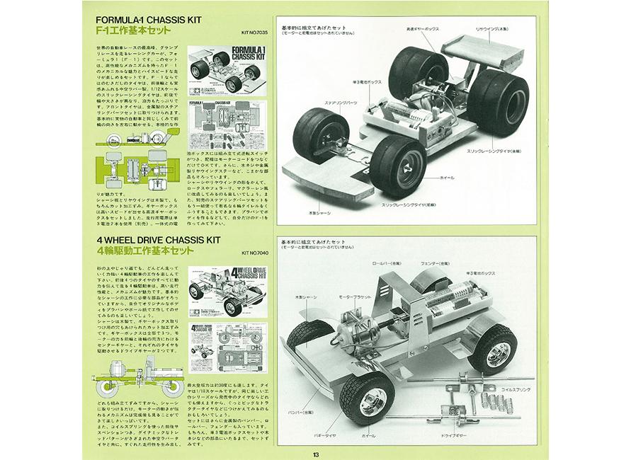 「F1工作基本セット」と「4輪駆動工作基本セット」(発売当時のカタログより抜粋)