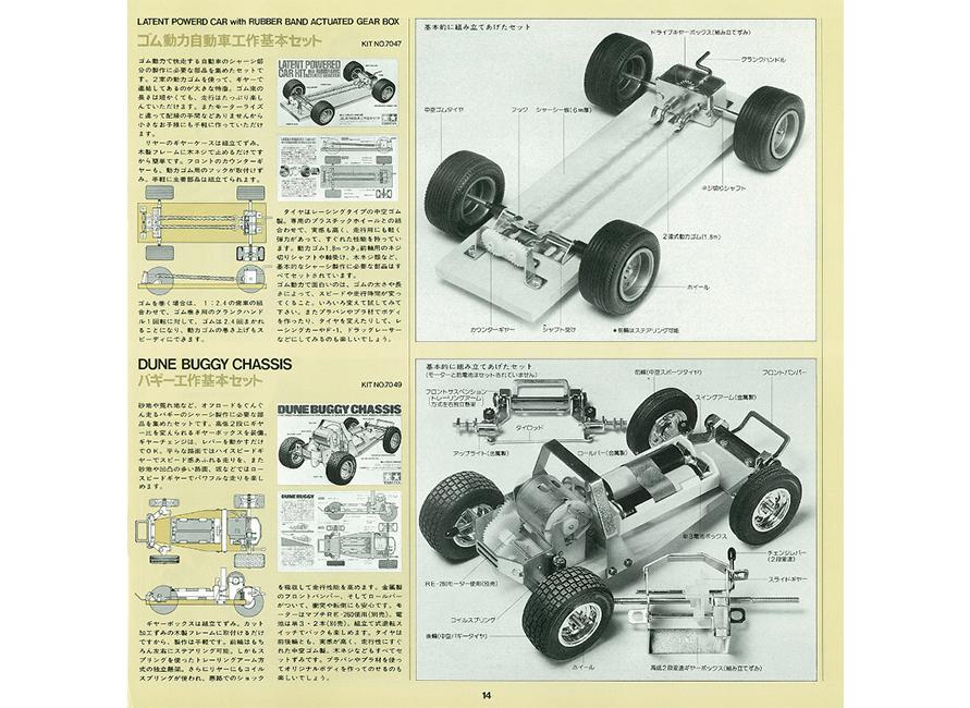 「ゴム動力自動車工作基本セット」と「バギー工作基本セット」(発売当時のカタログより抜粋)