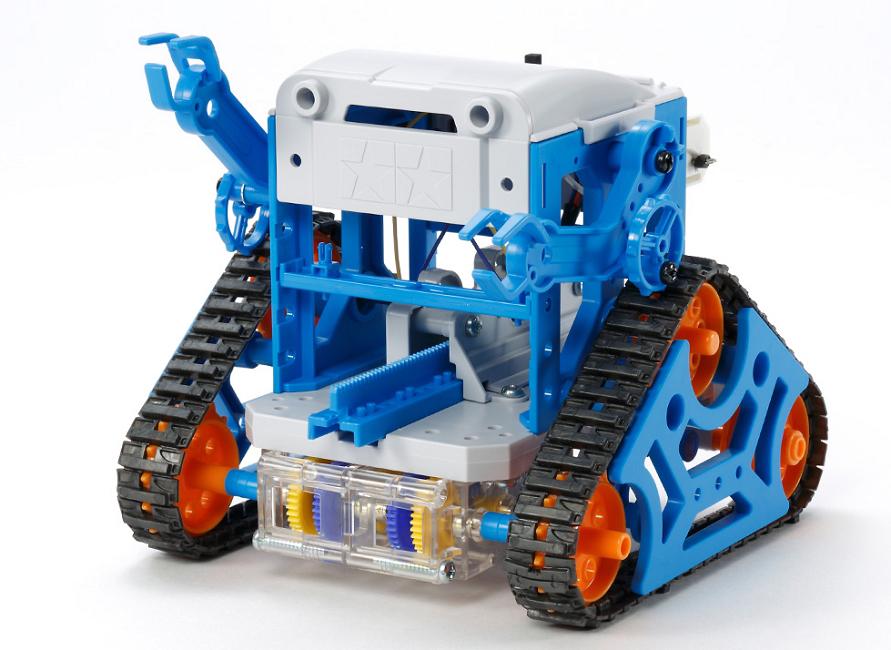 「カムプログラムロボット工作セット」。カムの組み合わせにより、ロボットの動きをプログラムすることができる