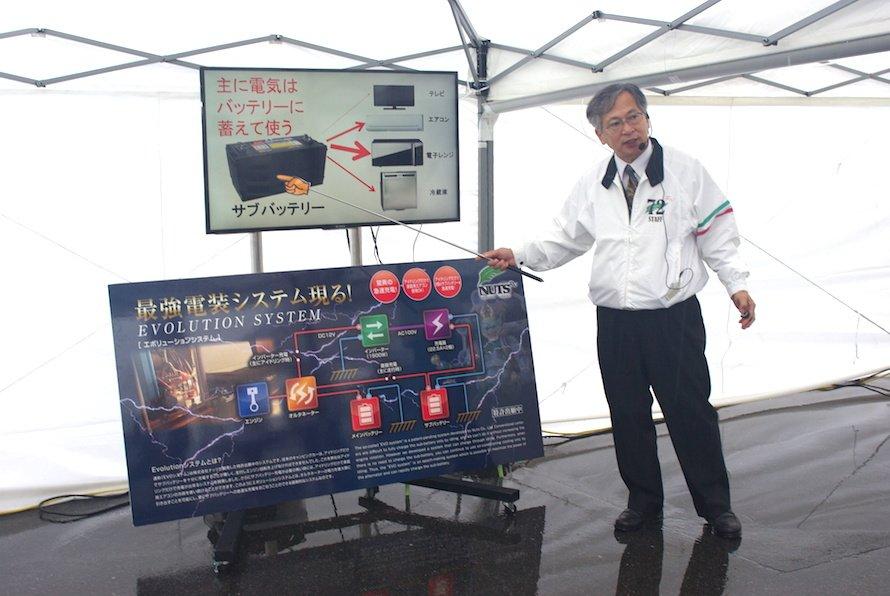 株式会社NUTS スタッフによるCREA EVOLUTION搭載の急速充電システム「EVOLUITON」の説明会の様子