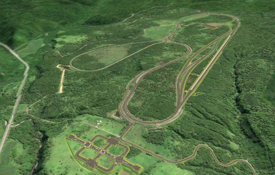 上が高速周回路、手前にあるのが市街地路。CGによるイメージ