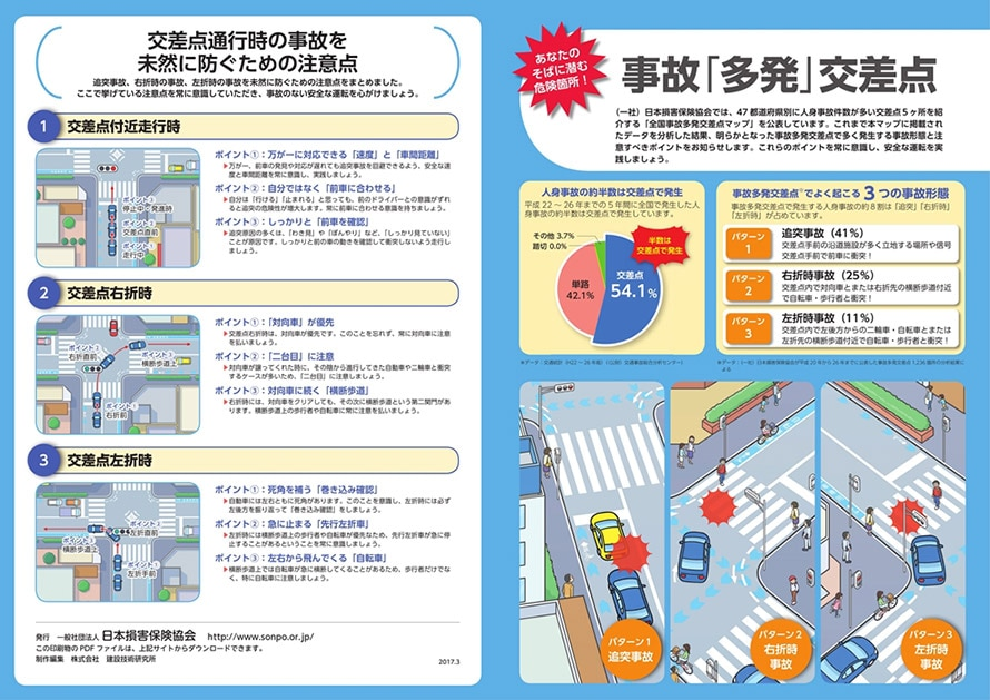 交差点事故防止 リーフレット(出典:一般社団法人 日本損害保険協会)