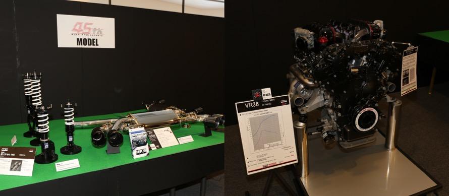 45周年記念パーツ。右写真はGT-R用エンジン「VR38DETT」を4.3L化したショートエンジン。45周年限定品、エンジン本体で450万円。