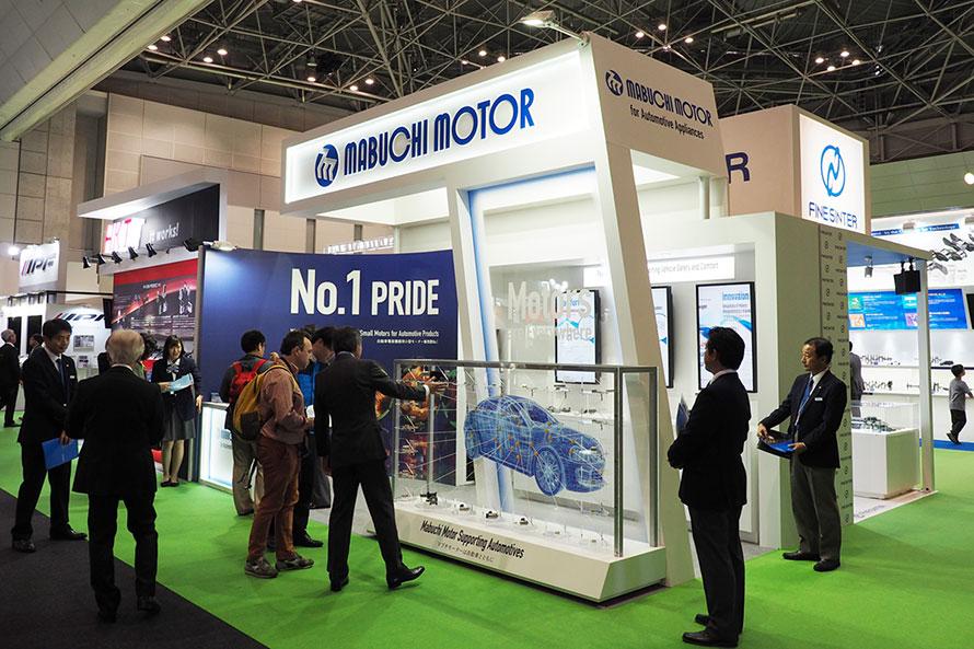 2017年の東京モーターショーに出展したマブチモーターのブース。