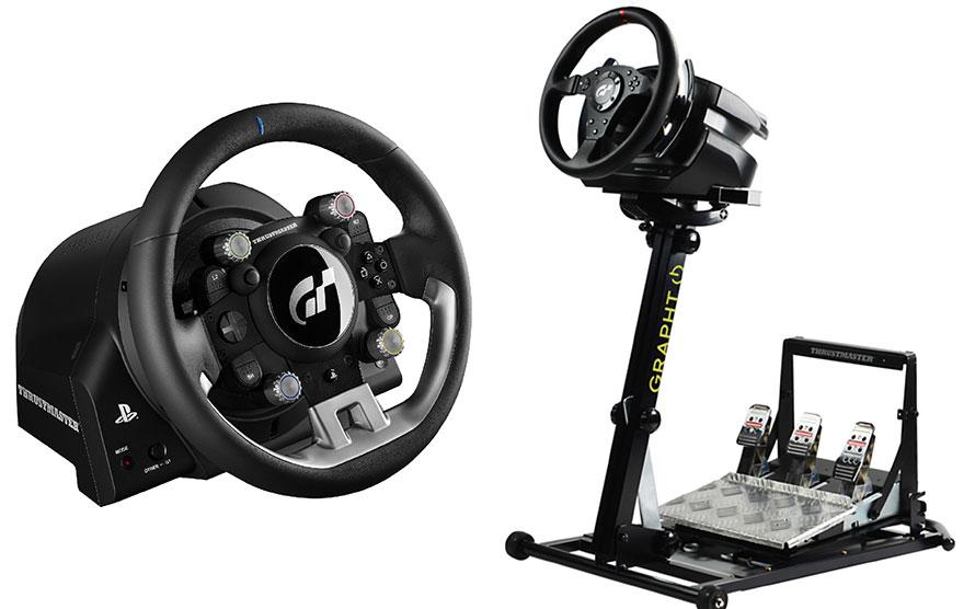 左は最新のステアリングコントローラー「Thrustmaster T-GT Force Feedback Racing Wheel」。右はステアリングコントローラーを固定する「GRAPHT 武者震REVOLUTION」