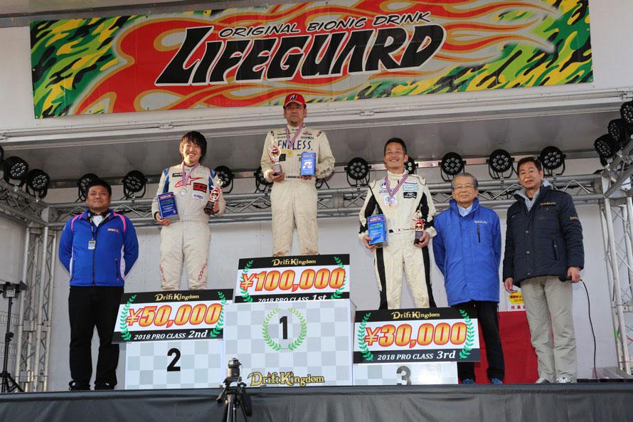 優勝は箕輪慎治選手、2位は益山航選手、3位は中村大介選手。賞金とオイルメーカー・WAKOSからオイルがプレゼントされた