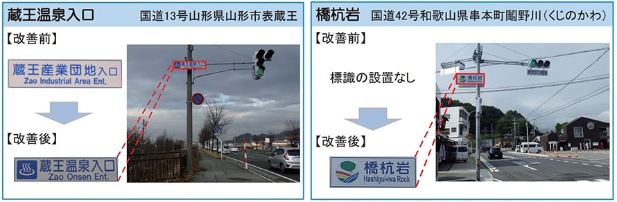 蔵王温泉入口(山形県)には温泉マーク、橋杭岩(和歌山県)には「南紀熊野ジオパーク」のマークが入っている
