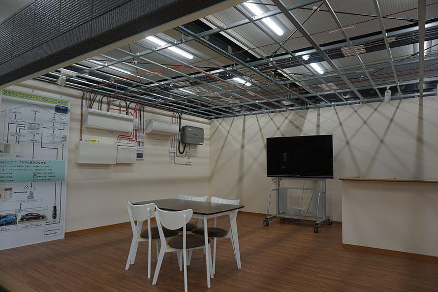 「スマートハウス」のモデルルーム内部。電気自動車が普及され、自動車大学校での学習範囲も増えているそうです。