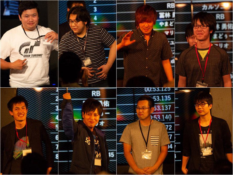 上段左からカルソニック選手、RB選手、冨林勇佑選手、やまどぅー選手下段左からマリオ選手、アユム選手、ふじお選手、hamuda_045選手