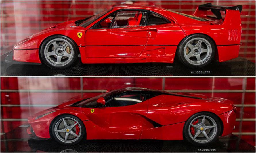 1/8スケールの「F40LM」(上)と「ラ・フェラーリ」(下)。塗料は、フェラーリから実車と同じものを提供されているという。後輪下のお値段に注目!