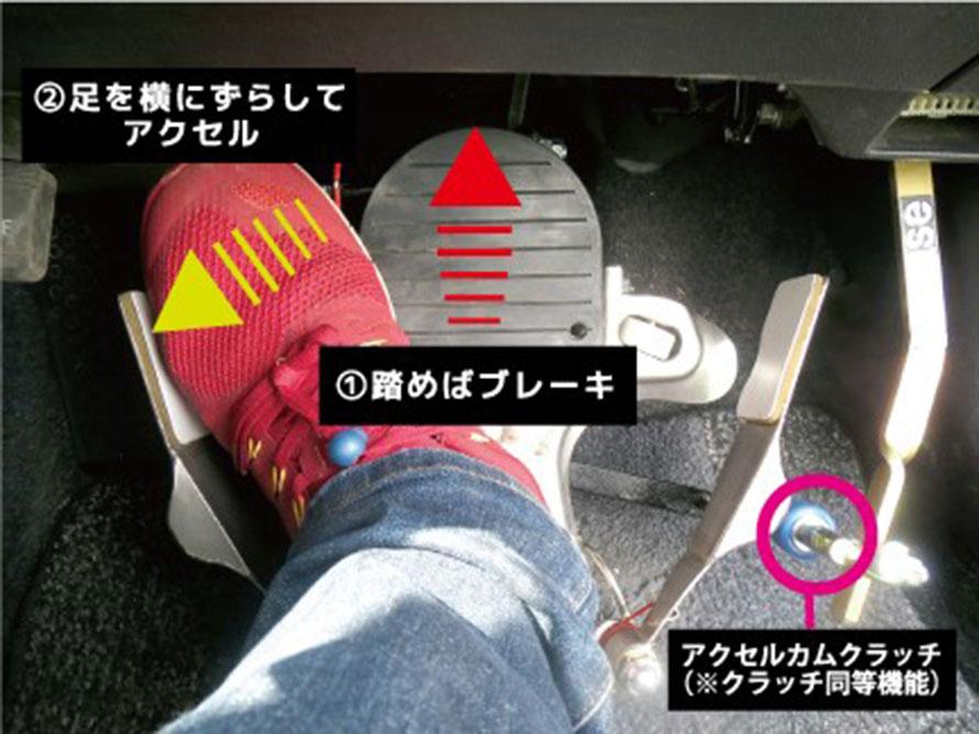 こちらは両足兼用タイプのワンペダル。左右どちらの足でも運転可能なため家族でクルマの共用ができます。