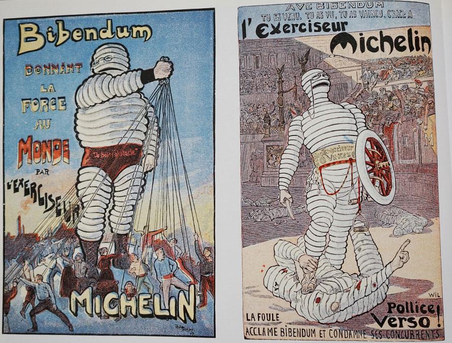 「ビバンダムは世界に力を与える。」(左)と「ビバンダム万歳!来た、見た、勝った」(右)。:『ビバンダムの偉大なる世紀』より(C)MICHELIN