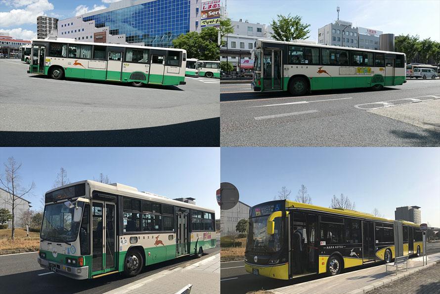 駅~住宅地路線でまだまだ活躍する「日野KC-HU2MPCA型3扉車」(左上)に最古参の「日野U-HU2MPAA型前後扉車」(右上)、もともと希少な「いすゞKC-LV280Q改ワンステップ前中扉車」(左下)、スカニア製連節バス(右下)など、さまざまな世代と種類のバスが走る