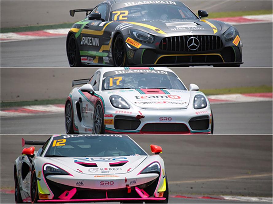 上から「メルセデスAMG GT4」、「ポルシェ・ケイマンGT4クラブスポーツ」、「マクラーレン570S GT4」