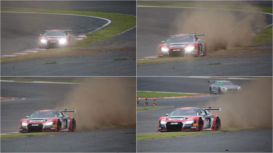 派手に砂に乗っかってしまったアウディR8 LMS GT3の5号車。後続車は「ひえ〜!」