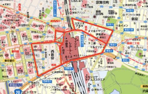 こちらは新宿を走る基本ルート。これを4時間ないしは1日かけて走行する