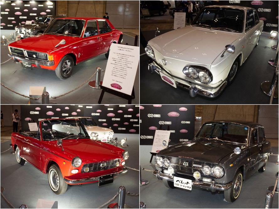 トップ画像の新旧アルピーヌA110のほかに「三菱コルト・ギャラン」「日野コンテッサ」「ダイハツ・コンパーノスパイダー」「いすゞ・ベレット1500デラックス」が、主催者展示された。1960~1970年の人気車種だ