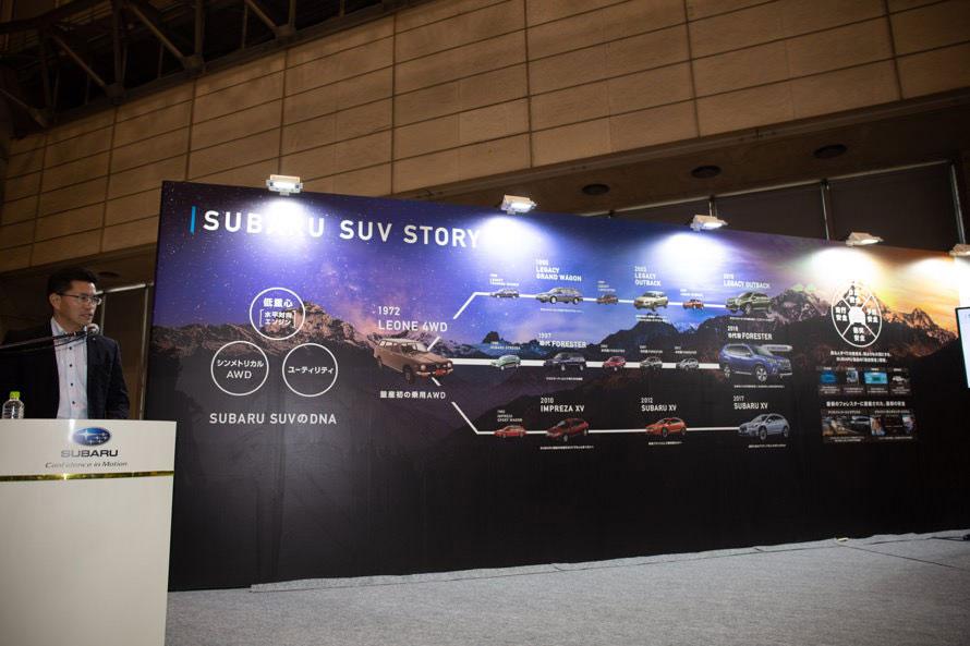 株式会社SUBARU広報部 清田勝紀氏が登壇。パネルには「レオーネ4WD」を始祖とした、スバルSUVのヒストリーが書かれている。「AWD」という言葉は「4WDではトラックっぽいので、あくまで乗用車ベースの技術として付けた名」だそうで、これによって1980年代に売り上げが落ち込んだアメリカのセールスが再び成長したと言う