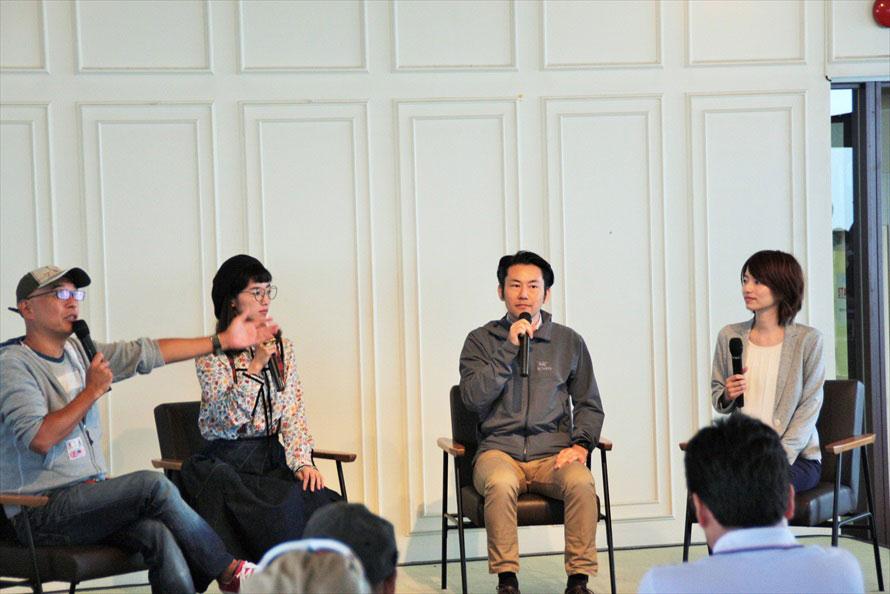 出演者(左から)ピストン西沢さん、松嶋初音さん、森茂之さん、岩永未央さん