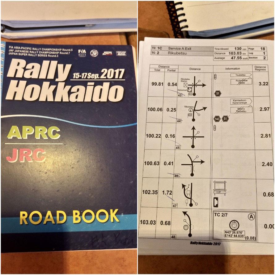 「ラリー北海道」で実際に使われたロードブック。ロードブックは参加者全員にわたされるいわば「旅のしおり」。右のページには移動区間のルートが書かれている。移動区間は「指定場所以外での給油」はもちろんコンビニに寄ることもできない
