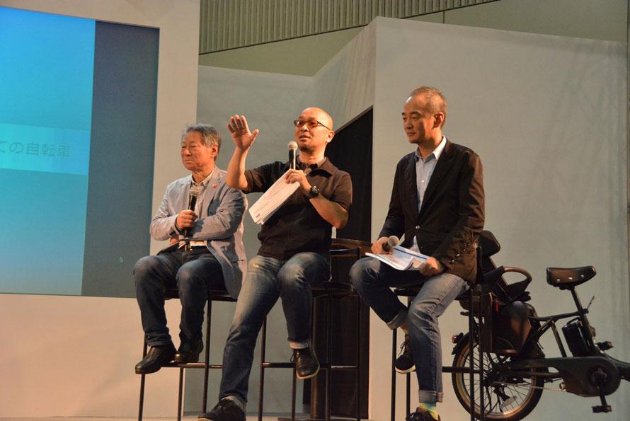 左から右へ、小林成基氏(自転車活用推進研究会理事長)、疋田 智氏(自転車評論家)、グッド・チャリズム宣言プロジェクト代表理事の韓祐志氏。