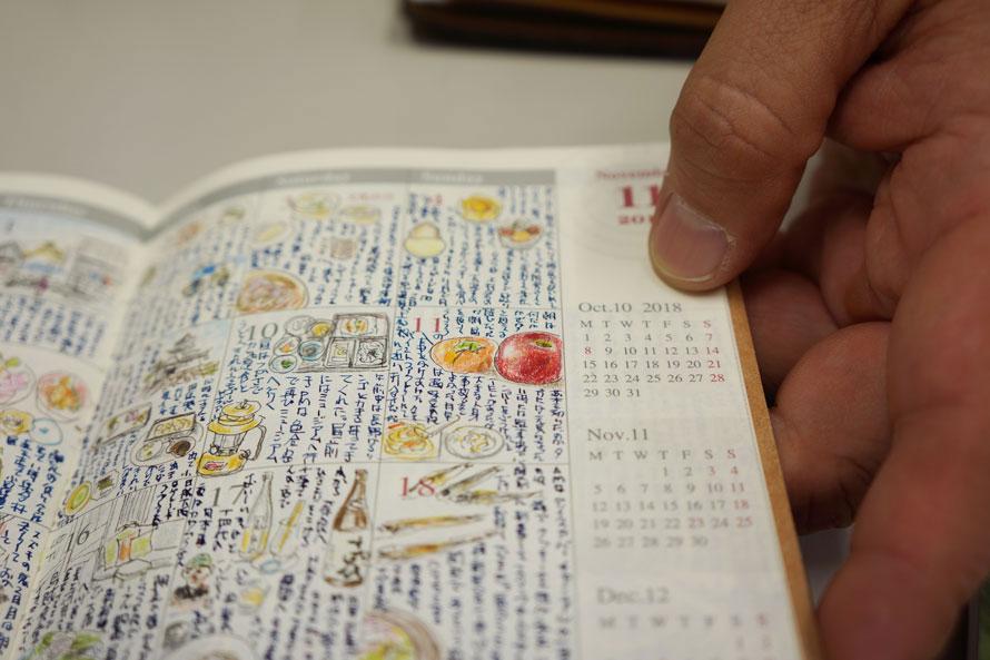 トラベルノートのマンスリーページにはその日の絵日記も