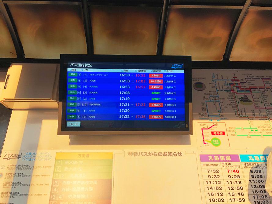 香川県丸亀市の「バスきよん?」のデジタルサイネージ