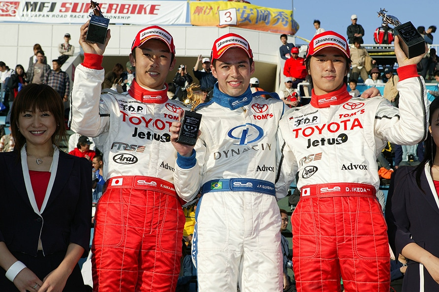 2005年、トムスのF3ドライバー 左から中嶋一貴選手、JP・デ・オリベイラ選手、池田大祐選手