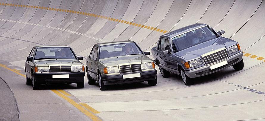 1980年代に活躍したメルセデス・ベンツ車。左から190E、124型Eクラス、126型Sクラス。輸入車の代名詞として長らく愛されてきたメルセデス・ベンツだけに、クラシックモデルのメンテナンスにまつわる需要は大きい。