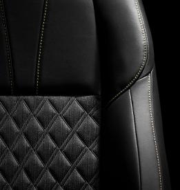シート表皮ファブリック+合成皮革(ブラック/ダークサドルタン)