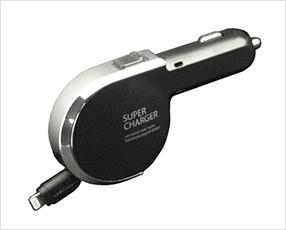 リール式DC充電器 2.4A Apple Lightningケーブル用 ブラック (カシムラ)