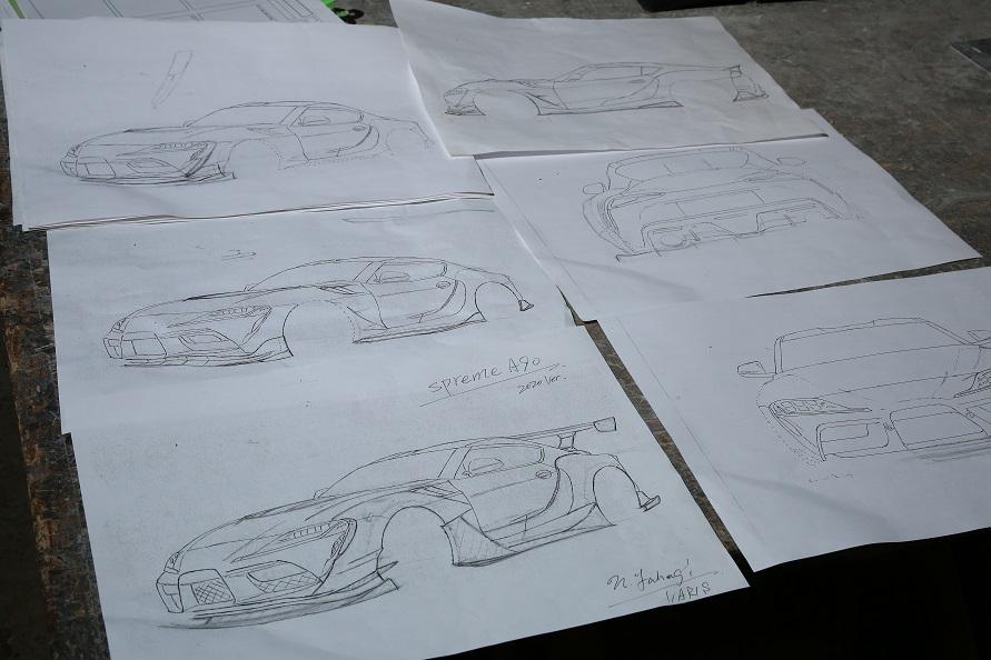 エアロのデザインも矢萩さんが担当。これがGRスープラをデザインした時の、実際のデザイン画