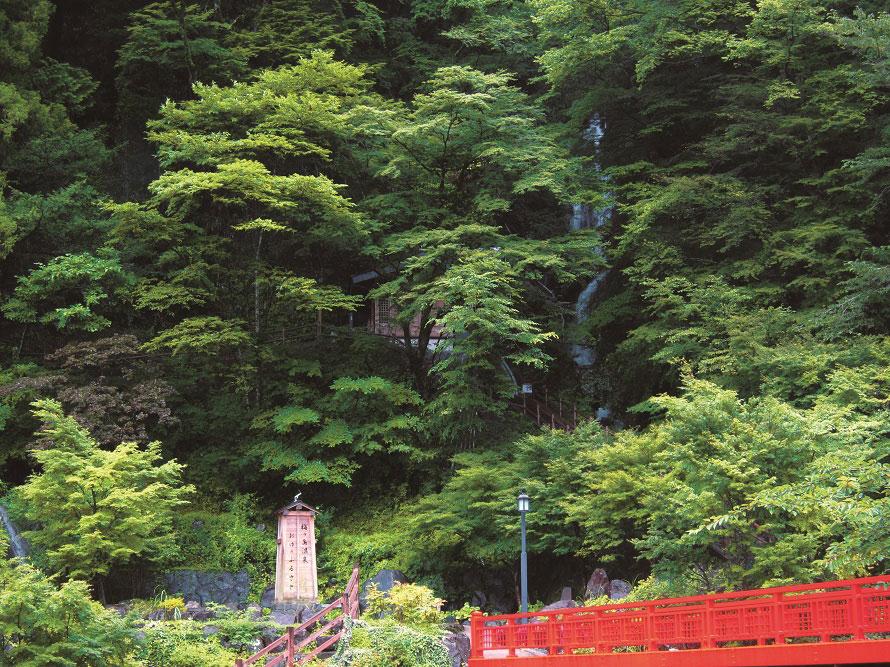 梅ヶ島温泉の温泉街にある「おゆのふるさと公園」。赤い湯橋を渡った先にある