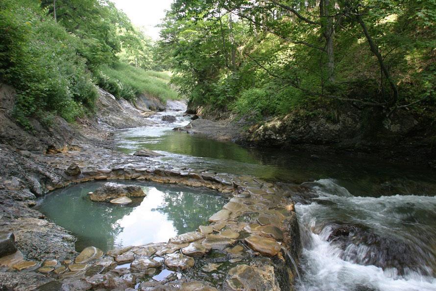 天然温泉のお湯は、やや熱めのお湯加減。滑りやすいので足元には気をつけて。男女別に分かれておらず混浴となっている。